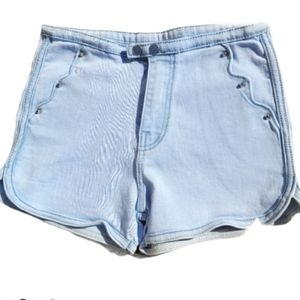 Scallop Pocket Double Button Jean High Rise Shorts